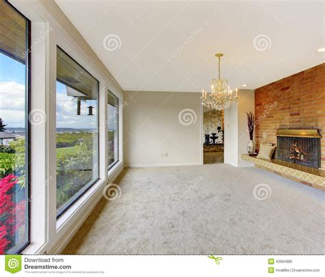 Empty Living Room Interior With Brick Background Fireplace