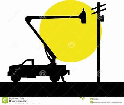 Lineman Bucket Truck Vector Background Cartoons