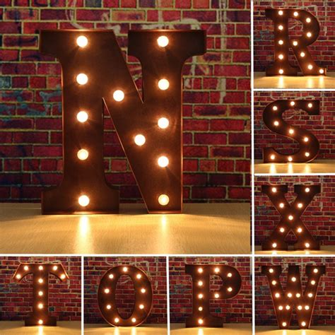 wall mounted vintage light up metal letter a illumination vintage metal led light diy letter n to x sign carnival 44480