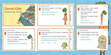 * New * Carrot Club Year 2 Reasoning Differentiated Challenge Cards