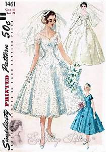 1950s beautiful wedding dress pattern simplicity 1461 With vintage wedding dress patterns