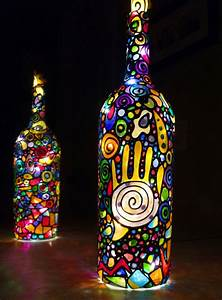 Lampen Mit Perlenfransen : 42 deko ideen f r diy lampen und leuchten aus glasflaschen ~ Indierocktalk.com Haus und Dekorationen