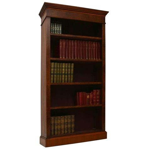 bespoke antique burr walnut open bookcase  stdibs