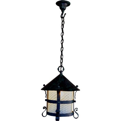 wrought iron hanging ls arts and crafts wrought iron hanging l with opalescent