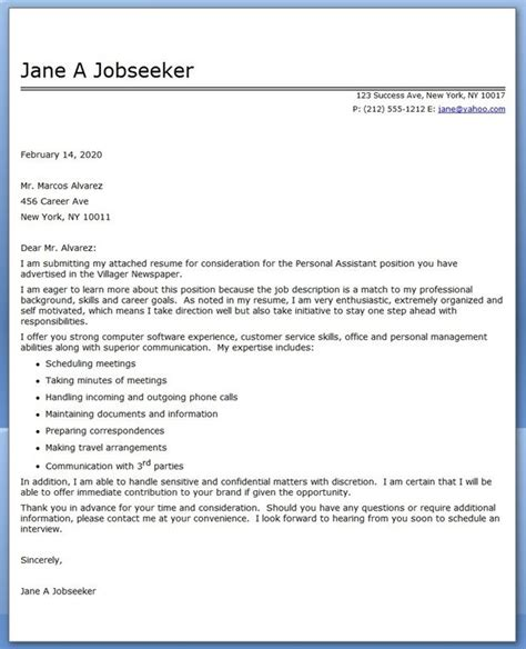 personal assistant cover letter sample creative resume design templates word pinterest