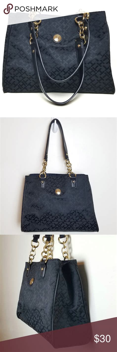 tommy hilfiger monogram black tote purse black tote purse black tote tommy hilfiger