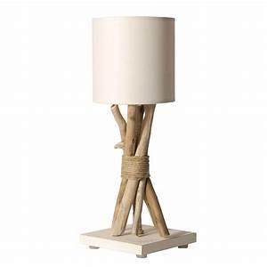 Lampe de chevet bois flotté abat jour blanc En vente sur