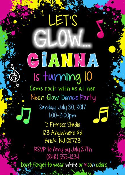 glow dance party birthday invitations kids birthday