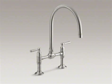 kohler high rise bridge faucet kohler hirise two deck mount bridge kitchen sink