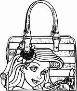 Coloring Handbag Pages Bag Ariel Mermaid Getdrawings Getcolorings sketch template
