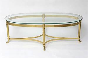 Glass top oval mirrored coffee table with brass frame and for Glass top coffee table with wheels