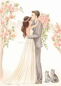 Save the Date Illustration - Wedding Portrait, Bride Groom ...