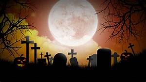 A Creepy Graveyard Halloween Background Scene With Graves ...