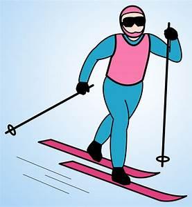 Clip Art: Snowman Cross Country Skiing (B&W) - Winter ...