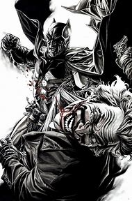 Batman vs Joker Comic Art Black and White