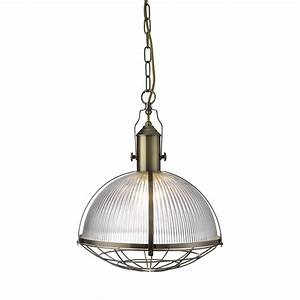 Industrial light pendant antique brass with ribbed glass
