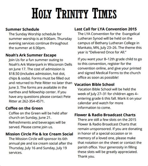 sample church newsletters sample templates