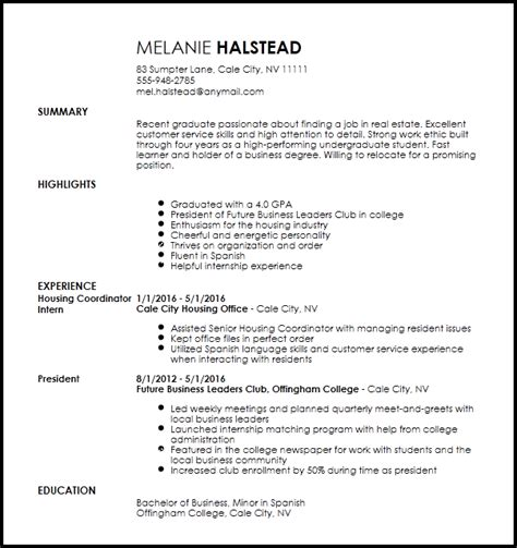 Leasing Resume Templates by Free Entry Level Apartment Leasing Consultant Resume