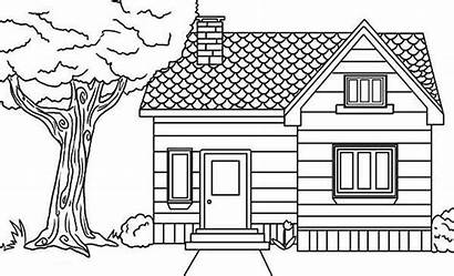 Coloring Pages Houses Village Inside Drawing Colouring