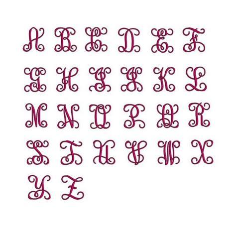 inches vine monogram interlocking embroidery font upper   case satin stitch