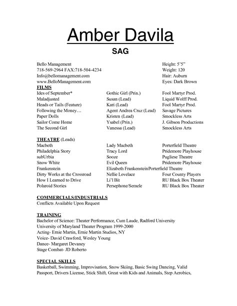 Talent Resume For Child by Free Acting Resume Templates Slebusinessresume