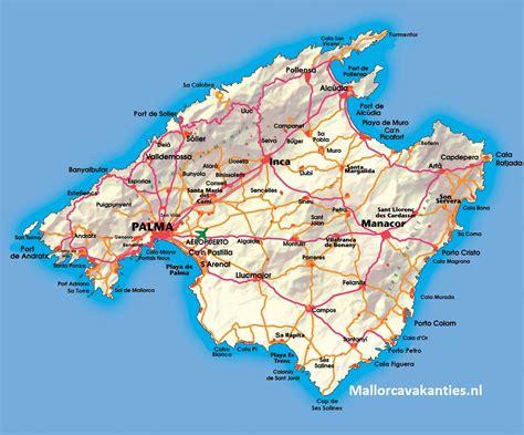 mallorca kaart mallorca landkaart plattegrond van