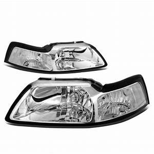 For 1999 to 2004 Ford Mustang OE Style Headlight Chrome Housing Clear Corner Headlamp 4 Gen 00 ...