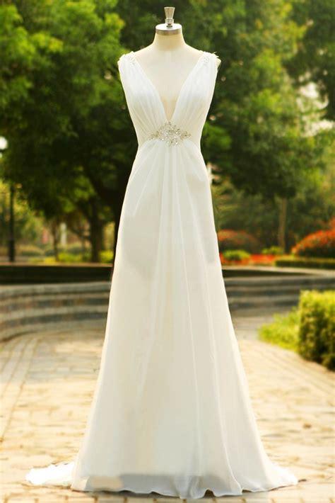charming  neck long chiffon beach wedding dress sd