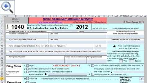 free spreadsheet based form 1040 available for 2012 tax