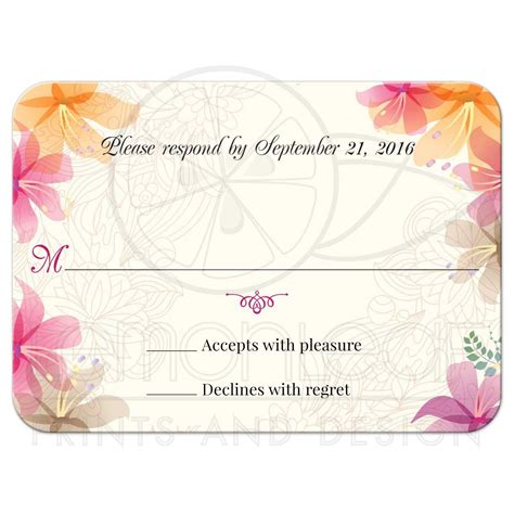 Wedding Reply RSVP Card Tropical Floral Soft Pink and