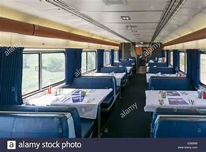 Empty dining car on the Amtrak Empire Builder train ...