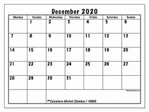 Monthly Calendar November 2020 Printable Calendar December 2020 48ms Michel Zbinden En