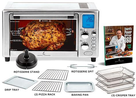 emeril 360 airfryer power lagasse deluxe tray crisper drip rotisserie pizza pan fryer air recipes recipe rack stand trays racks