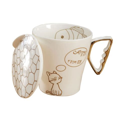 Lovely Cat Fish Ceramic Water Cups Office Morning Coffee Mug With Cup Lid in Mugs from Home