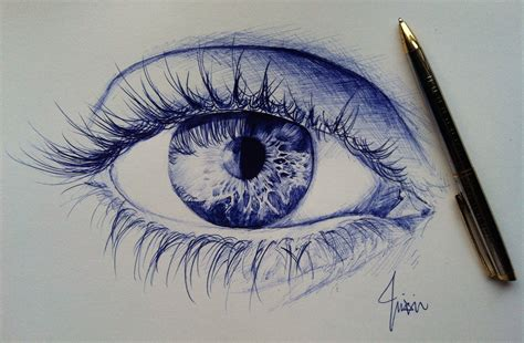eye ballpoint  drawing  zhixintay  deviantart