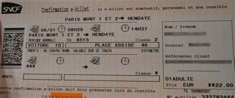 Modifier Billet Sncf Carte Voyageur by E Billet Sncf