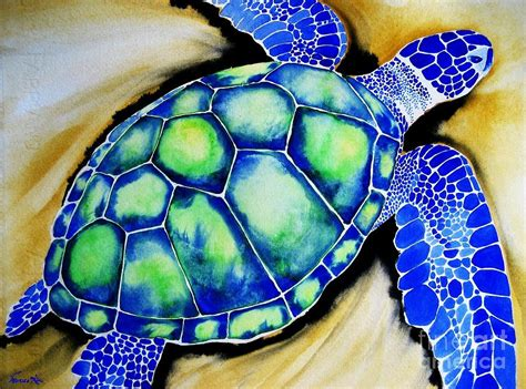 blue turtle painting by frances ku