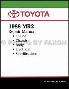 1988 Toyota Mr2 Repair Shop Manual Factory Reprint