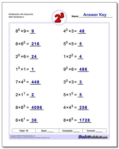 multiplication  exponents