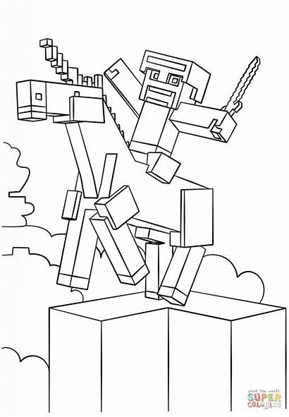 Coloring Minecraft Pages Unicorn Supercoloring Printable Drawing