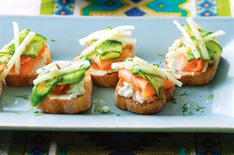 easy no cook canapes smoked salmon crostini with cucumber and pear pickle recipe taste au