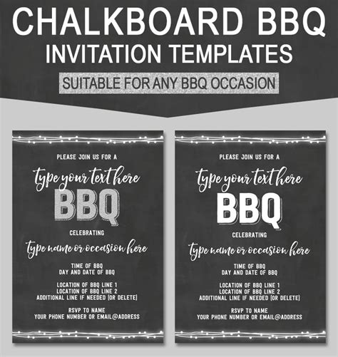 editable chalkboard bbq invitations printable templates