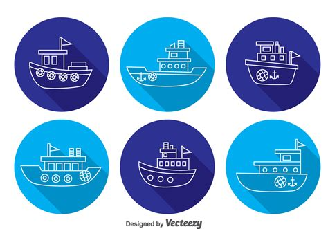 Tugboat Vector Question by Boats Shadow Icons Free Vector Stock