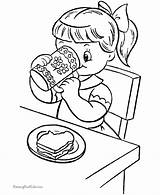 Coloring Printable Snacks Colouring Children Eating Breakfast Sheets Kid Clipart Raisingourkids Makes Library Kleurplaten Voeding Clip Apple Coffee Animal Popular sketch template