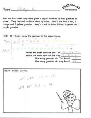 kidzone math word problems