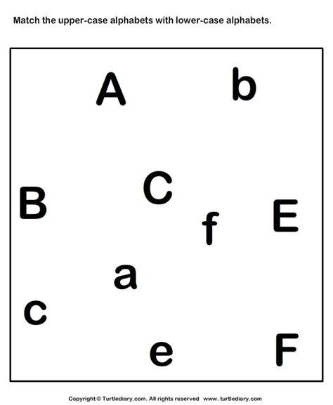 match uppercase   lowercase letter    worksheet