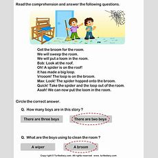Reading Comprehension Broom For The Room Worksheet  Turtle Diary