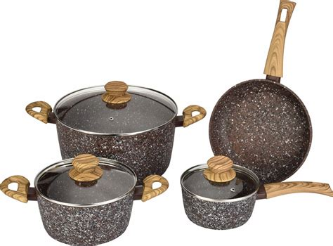 pots pans wood stone handles aluminum forged china cookware
