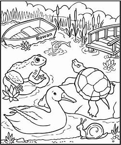 Personalized Down at the Pond Coloring Page | Frecklebox
