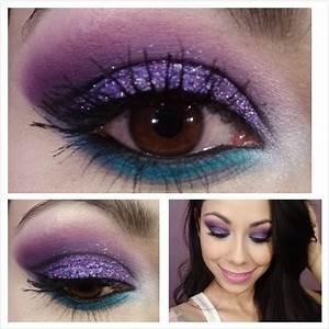 maquillaje morado con glitter glitter makeup
